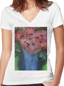 Floral exhibition exhibit Women's Fitted V-Neck T-Shirt