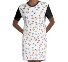 Electric Magic Mushrooms on White Graphic T-Shirt Dress
