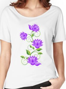 Purple And green Abstract Flowers Illustration Women's Relaxed Fit T-Shirt