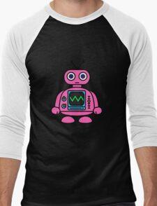Pink Robot Men's Baseball ¾ T-Shirt