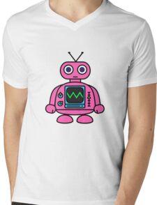 Pink Robot Mens V-Neck T-Shirt