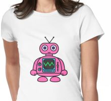 Pink Robot Womens Fitted T-Shirt