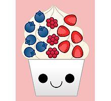 kawaii berry frozen yogurt Photographic Print