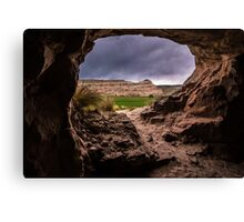 Sandstone Cave in Stormy Weather - Moab - Utah Canvas Print