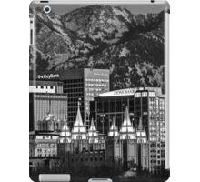 Salt Lake City Downtown Winter Skyline - Black And White iPad Case/Skin