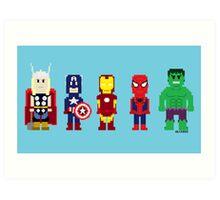 8-Bit Super Heroes! Art Print