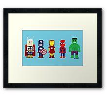8-Bit Super Heroes! Framed Print