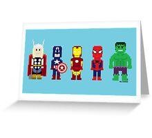 8-Bit Super Heroes! Greeting Card