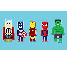 8-Bit Super Heroes! Photographic Print
