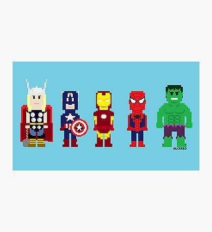 8-Bit Super Heroes! Photographic Print