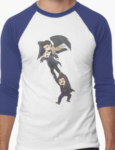 The angel, the sociopath and the timelord Men's Baseball ¾ T-Shirt