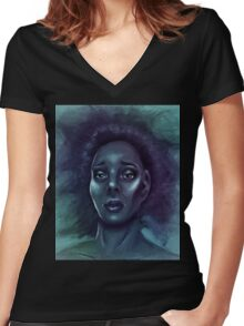 Two Blue Hearts Women's Fitted V-Neck T-Shirt