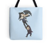The angel, the sociopath and the timelord Tote Bag
