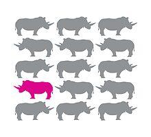 One Pink Rhino in the Herd by starstreamdezin