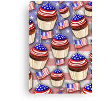 USA Flag Cupcakes Pattern Canvas Print