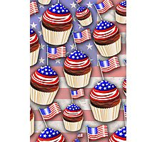 USA Flag Cupcakes Pattern Photographic Print