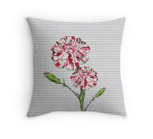 Candy Striped Carnation Throw Pillow
