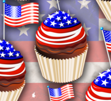 USA Flag Cupcakes Pattern Sticker