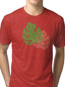 Linocut Leaf Pattern Tri-blend T-Shirt
