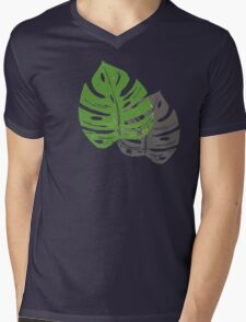 Linocut Leaf Pattern Mens V-Neck T-Shirt