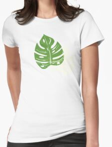 Linocut Leaf Pattern Womens Fitted T-Shirt