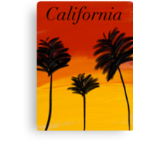 Poster/Cards/Print California sunset palm trees drawing Canvas Print