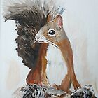 Red Squirrel Woodland Animal Acrylic Painting by JamesPeart