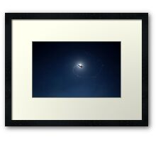 Flying red water balloon Framed Print
