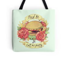 Burger Tattoo - 'What a girl wants' Food before Flowers Design Tote Bag