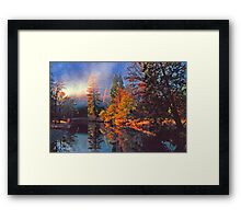 MISTY MORNING MERCED RIVER Framed Print