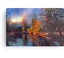 MISTY MORNING MERCED RIVER Metal Print