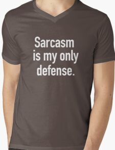 Sarcasm is My Only Defense (White Text) Mens V-Neck T-Shirt