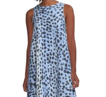Light Blue and Black Spot Abstract A-Line Dress
