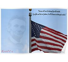 American Flag Abraham Lincoln Quote Poster