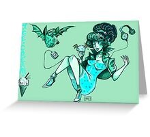 MONSTER ICE CREAMS - Mint choc chip vampire Greeting Card