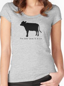 Cow Level-Black Women's Fitted Scoop T-Shirt