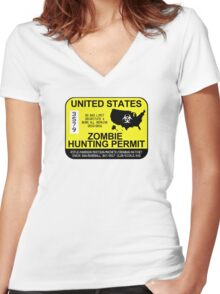 Zombie Hunting Permit 2015/2016 Women's Fitted V-Neck T-Shirt