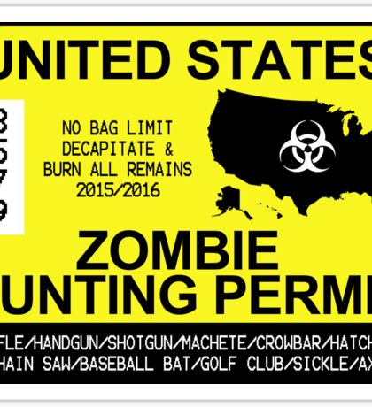 Zombie Hunting Permit 2015/2016 Sticker
