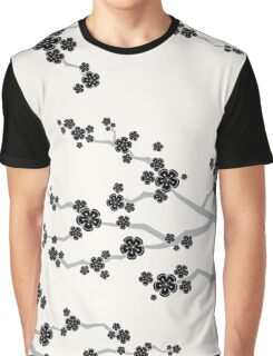 Zen Black Sakura Cherry Blossoms Flowers Graphic T-Shirt