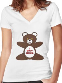 I Wuv Hugz Women's Fitted V-Neck T-Shirt