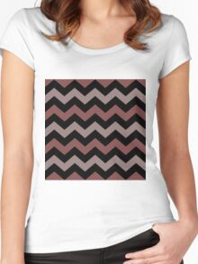 Multi Colored ZIG-ZAG Women's Fitted Scoop T-Shirt