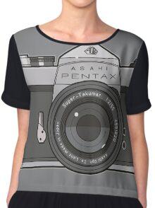 Asahi Pentax 35mm Analog SLR Camera Line Art Graphic Gray Chiffon Top