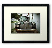 Route 66 Vintage 1940s Blue Car Framed Print