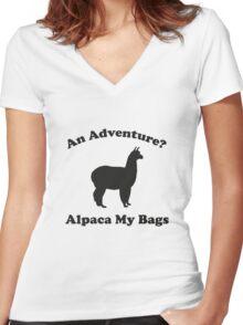 An Adventure? Alpaca My Bags. Women's Fitted V-Neck T-Shirt