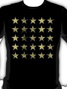 Distressed Gold Stars Pattern T-Shirt