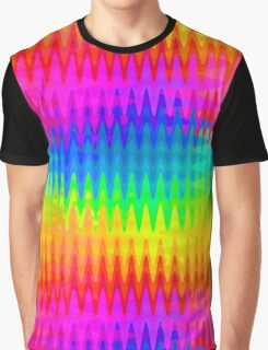 Rainbow Color Waves Pattern Graphic T-Shirt