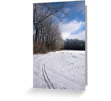 Tracks through Snowy Field Greeting Card