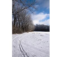 Tracks through Snowy Field Photographic Print