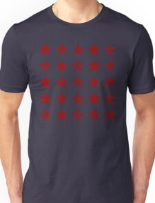 Distressed Red Stars Pattern Unisex T-Shirt
