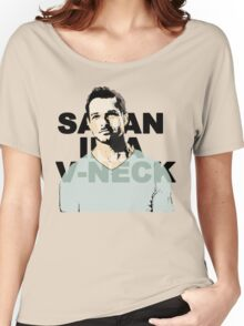 Satan in a V-Neck Women's Relaxed Fit T-Shirt